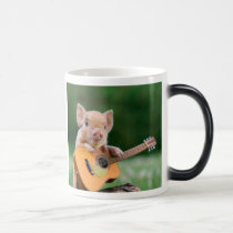 Funny Cute Pig Playing Guitar Magic Mug