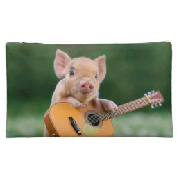 Funny Cute Pig Playing Guitar Makeup Bag