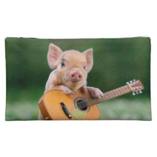 Funny Cute Pig Playing Guitar Makeup Bag at Zazzle