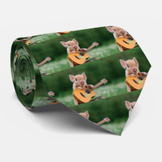 Funny Cute Pig Playing Guitar Neck Tie at Zazzle