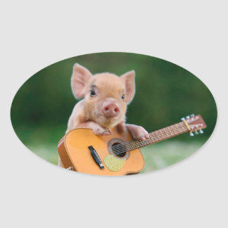 Funny Cute Pig Playing Guitar Oval Sticker