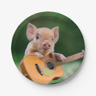 Funny Cute Pig Playing Guitar Paper Plate