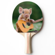 Funny Cute Pig Playing Guitar Ping-Pong Paddle