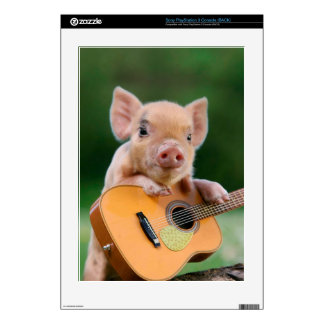 Funny Cute Pig Playing Guitar PS3 Console Decals