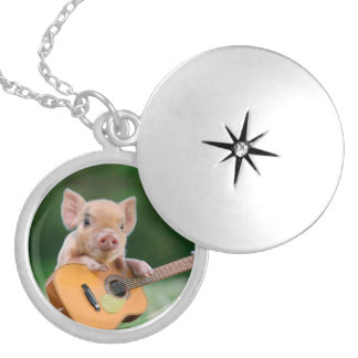 Funny Cute Pig Playing Guitar Round Locket Necklace