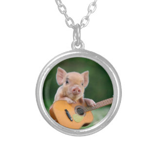 Funny Cute Pig Playing Guitar Round Pendant Necklace