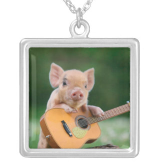 Funny Cute Pig Playing Guitar Square Pendant Necklace