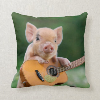Funny Cute Pig Playing Guitar Throw Pillow
