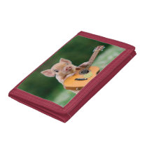 Funny Cute Pig Playing Guitar Trifold Wallet
