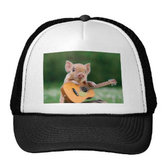 Funny Cute Pig Playing Guitar Trucker Hat