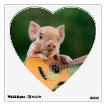 Funny Cute Pig Playing Guitar Wall Decal
