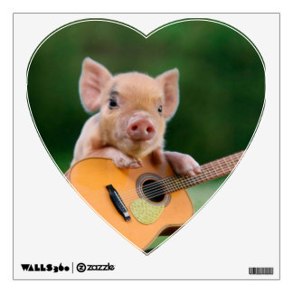 Funny Cute Pig Playing Guitar Wall Decals