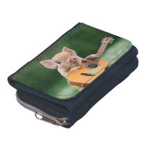 Funny Cute Pig Playing Guitar Wallet
