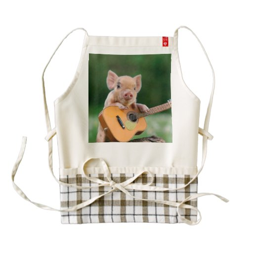 Funny Cute Pig Playing Guitar Zazzle HEART Apron