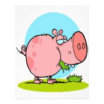 funny cute piggy pig eating grass cartoon flyer