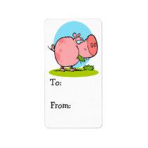 funny cute piggy pig eating grass cartoon label