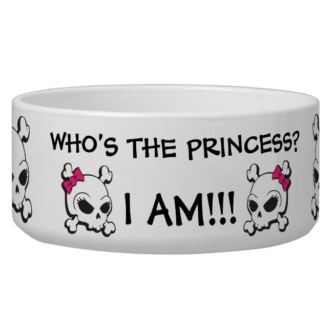 Funny Cute Pink Black Bow Crossbones Skull Pattern Bowl