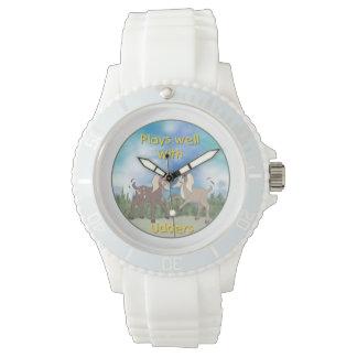 Funny Cute Playing Goats Wrist Watch