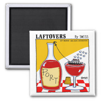 Funny Cute Port Wine Cartoon Kitchen 2 Inch Square Magnet