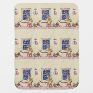 Funny cute puppy and Christmas carol singers Receiving Blanket