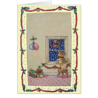 Funny cute puppy and father Christmas sleigh Cards
