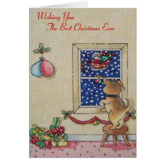 Funny cute puppy and father Christmas sleigh Greeting Card
