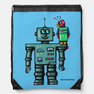 Funny cute robot and parrot art bag