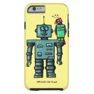 Funny cute robot and parrot art case