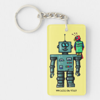 Funny cute robot and parrot art key chain design