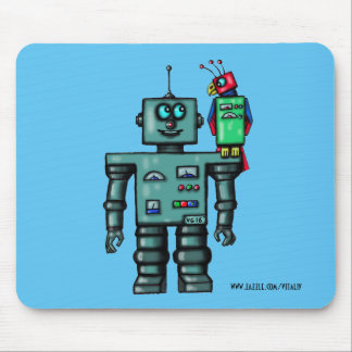 Funny cute robot and parrot art pad mouse pad