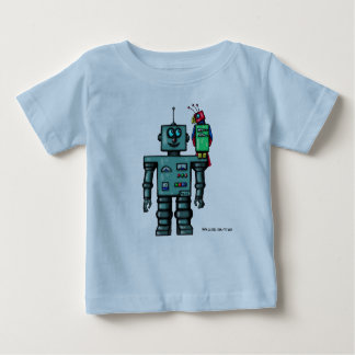 Funny cute robot and parrot art t-shirt design