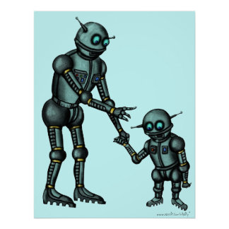 Funny cute robot and robot baby art poster