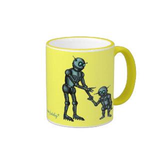 Funny cute robot and robot baby coffee mug