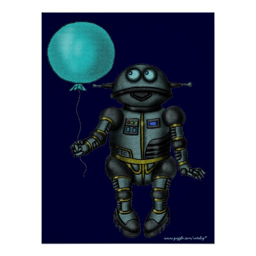 Funny cute robot with balloon art poster design