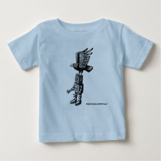 Funny cute robot with eagle ink pen drawing art baby T-Shirt