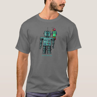 Funny cute robot with robotic parrot T-Shirt