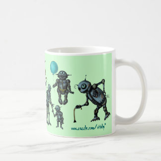 Funny cute robots coffee mug design