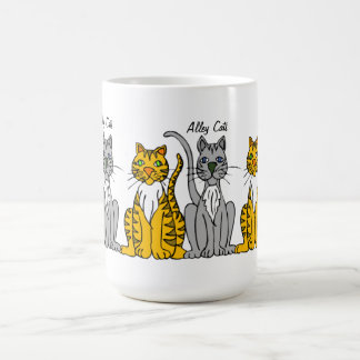 Funny Cute Row of Cartoon Alley Cats Coffee Mug