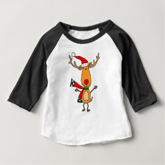Funny Cute Rudolph Red-Nosed Reindeer Baby T-Shirt