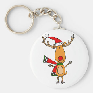 Funny Cute Rudolph Red-Nosed Reindeer Keychain