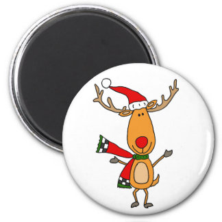 Funny Cute Rudolph Red-Nosed Reindeer Magnet