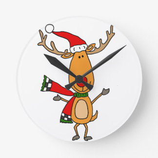 Funny Cute Rudolph Red-Nosed Reindeer Round Clock