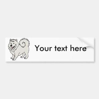 Funny Cute Samoyed Husky Dog Art Bumper Sticker