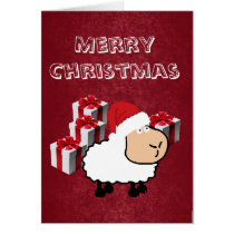 Funny cute Santa cartoon sheep Christmas