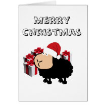 Funny cute Santa cartoon sheep Christmas Card