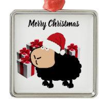 Funny cute Santa cartoon sheep Christmas Metal Ornament