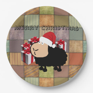 Funny cute Santa cartoon sheep Christmas Paper Plate