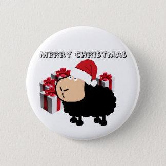 Funny cute Santa cartoon sheep Christmas Pinback Button