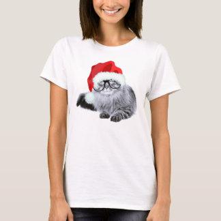 Funny Cute Santa Cat in Glasses Christmas T-Shirt
