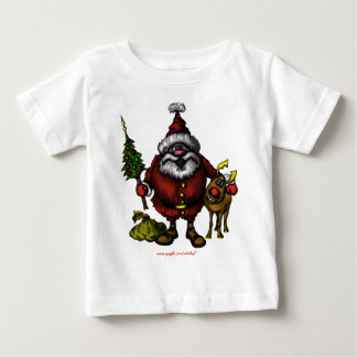 Funny cute Santa with Rudolph Christmas t-shirt